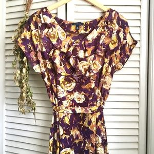 {Lands' End} Ruffled Neck Purple Floral Midi Dress